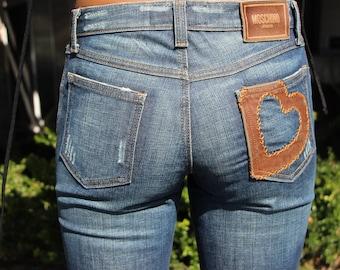 MOSCHINO JEANS  Women's Denim Heart-Print Skinny Mid-Rise Jeans