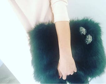 Faux Fur Large Bag with long chain