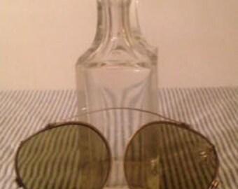 Antique Pilot Aviator Clip On Sunglasses