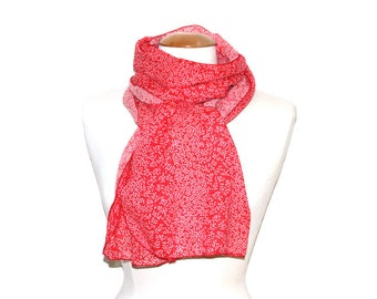 Woman flowing scarf / scarf woman fluid & light - weight cotton Voile - Mini flowers / red