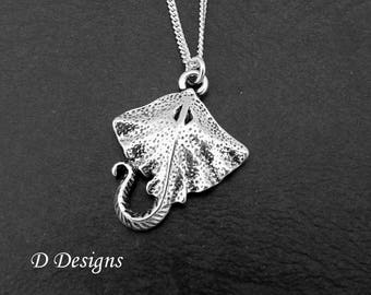 Manta Ray Necklace, Silver Stingray Pendant, Silver Charm Necklace, Stingray Chain, Silver Necklace,  Trendy Necklace