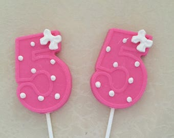 NUMBER FIVE Chocolate Lollipops - 5th Birthday/Birthday Favors/Number 5 Lollipops/Party Favors/Chocolate Five Lollipop/Kids 5th Birthday