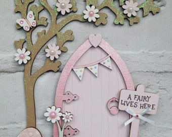 Lovely Pale Pink Fairy Door with Tree