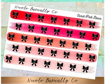 Bow Icons in Coral Pink Paint Stroke Colors- Planner Stickers