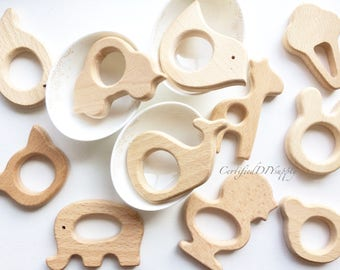 Certified Natural Organic Wooden Animals / Organic Wood Teething Bear/ Baby Safe Teething Wood/ Bunny Ears DIY Teething Toy/ Eco Toy