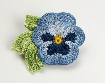Crochet Flower Pin Irish Crochet Pansy Pin Lapel Pin Scarf Pin Hat Pin Women's Gift Fiber Art Flower Brooch Blue Brooch