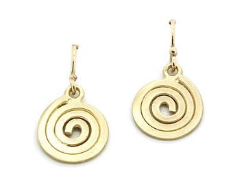 9ct yellow gold swirl earrings
