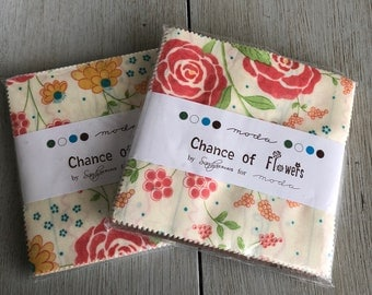 Charm pack duo of Chance of Flowers by Sandy Gervais for Moda