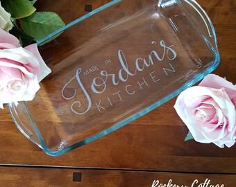 Casserole dish, personalised oven dish, custom glass dish, personalised pie dish, personalised kitchen, baking dish, Nan gift, Mum gift, mom