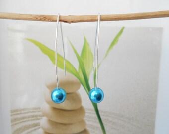 Silver Pearl Earrings Pearl turquoise