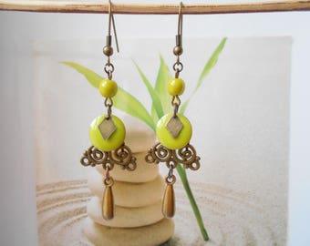 bronze sequin earrings lime green