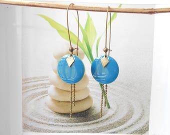 bronze sequin earrings turquoise