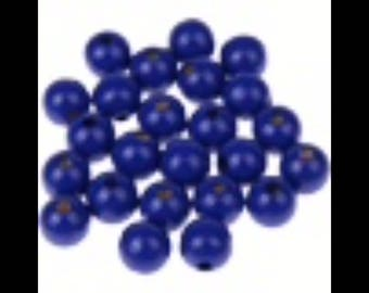 50 PC wood beads 10 mm wood tie Navy Blue pacifier