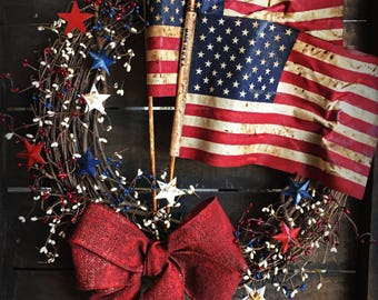 Americana Wreath - Patriotic Wreath - American Flag - Fourth of July - Tea stained Flags
