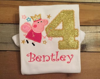 Peppa pig applique shirt, muddy puddles, fairy pig, SSD-52