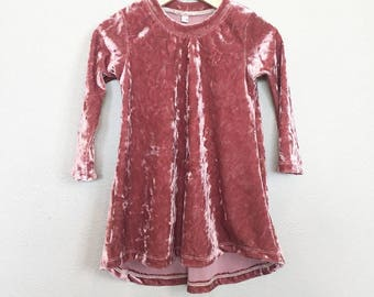 Pale pink crushed velvet dress, baby girl dress, brick pale velvet girl dress, toddler dress, baby girl velvet dress, valentines baby dress.