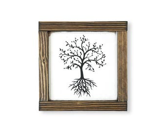 Family Tree- Collage Wall Art- Gallery Wall Frames- New Home Gift- Wall Decor Living Room- Rustic Home Decor- 7x7''