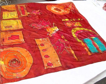 """Square silk scarf painting handpainted """"Once upon a time"""""""
