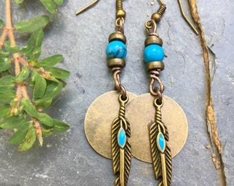 Boho Earrings, Hippie Earrings, Feather Earrings, Dangle Earrings, Copper Earrings, Earrings,