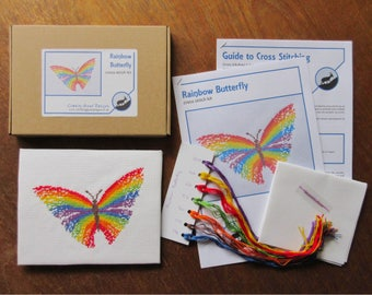 Rainbow butterfly cross stitch kit, modern embroidery kit, make your own craft, summer gift, needlework - includes full instructions