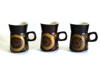 Denby Arabesque Coffee Mugs - Vintage Retro Mod Design - Set of Six Cups - Made in England - Gill Pemberton