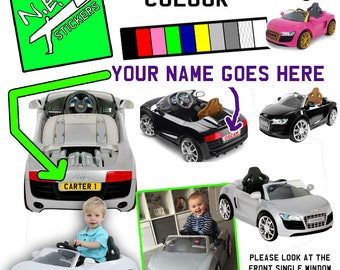 Personalised licence plate to fit kids' electric Audi R8 GT Spyder Ride-On 6v