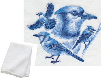 Blue Jay Bird Embroidered Cotton Hand Towel Unique Present Gift