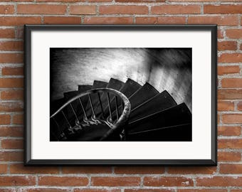 Cape Hatteras Lighthouse Spiral Staircase Black and White 8x10 16x20 Architectural Photography Fine Art Print Wall Art Photograph
