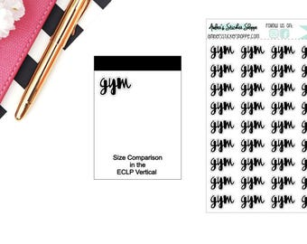Cursive Gym Headers Labels Planner Stickers