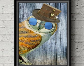 Owl Steampunk Art Print- Steampunk Owl - Dictionary - Owl Decor- Steampunk Decor-Owl Gift For Her-Hipster Wall - office Gift