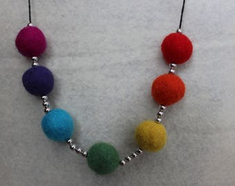 Rainbow Felt Beads Necklace With Small Silver Beads On Black Cord
