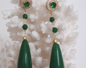Green jade and drops earrings with Swarovski crystals