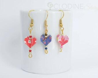 Mini heart origami earrings, Heart shaped jewelry, Origami heart, Small earrings, Origami jewelry, Handmade, Mini, Kawaii, Cute, Geometric