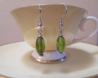 Green glass earrings accented with silver - sterling silver hooks