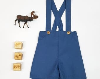 Boys Pants with Suspenders Braces. Cadet Blue Linen shorts. Baby Pants. Page Boy Outfit. Toddler shorts with braces