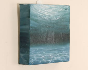 Underwater Art, Small Sea Painting, Nautical Decor, Turquoise Original Oil Painting on Canvas, Ocean Art, In the Depth