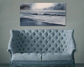 Monochrome Art, Indigo Ocean Painting, Sunrise Art, Ocean Waves Coastal Landscape, Original Seascape Oil Painting on Canvas, Winter Mood