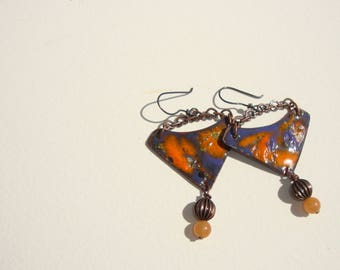 Blue Lavender, orange, bohemian, ethnques, rustic, cuivvre enamel earrings