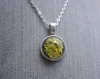 pendendif resin inlay necklace vegetable lichen