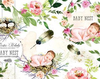 Baby Clipart, Newborn Clipart, Nest Clipart, Floral clipart, Feather Clipart, Cute baby Clipart, watercolor clipart