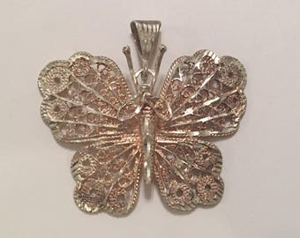 Vintage Sterling Silver Filigree Butterfly Pendant Necklace