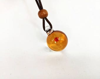 22mm Universe Pendant Necklace, Night Sky Galaxy Jewelry Necklace, Amber Space with a Red Planet of Glass Pendant, Unique Gift for Her