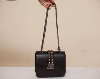 Black Leather Crossbody Studded Bag