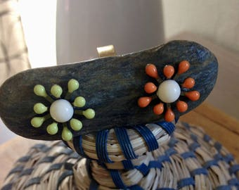 Lime, orange and white flower ring