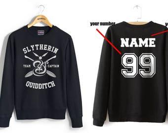 CAPTAIN - Custom back Slyth Quidditch team Captain on Black Crew neck Sweatshirt