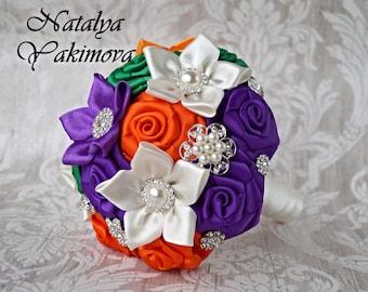 Wedding Toss Bouquet, Bridesmaid's bouquet, Mini brooch Bouquet, Wedding Accessories, Wedding set, ivory, purple, orange, green, Unique