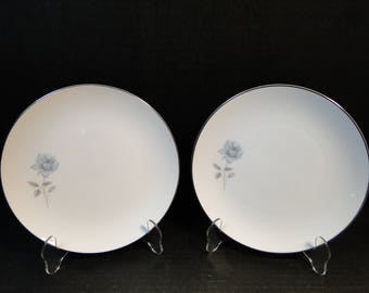 "TWO Noritake Simone Salad Plates 6407 White Blue Rose 8 1/4"" Set of 2 EXCELLENT!"