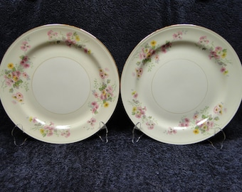"TWO Homer Laughlin Eggshell Pink Yellow Daisies Dinner Plates 9 3/4"" Set of 2 EXCELLENT!"