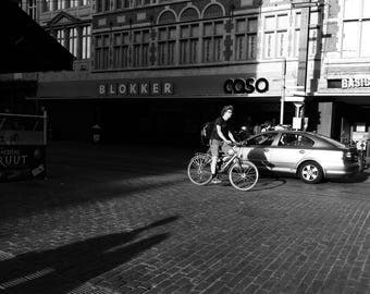 Belgium Photography, Belgium Print, Ghent Print, Gent Print, Black And White Print, Street Photography, Cycling Print, Cyclist, Wall Art