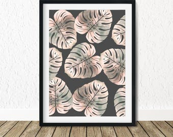 Monstera Leaves, Pink Monstera, Tropical Leaves, Monstera Leaf Print, Monstera Leaf, Monstera Print, Monstera Deliciosa, Monstera Leaf Art